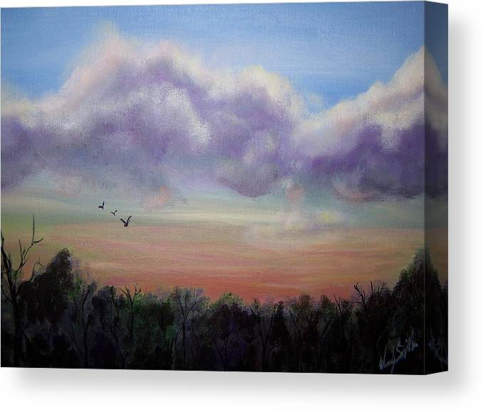 Clouds Canvas Print featuring the painting Clouds At Dusk by Wendy Smith