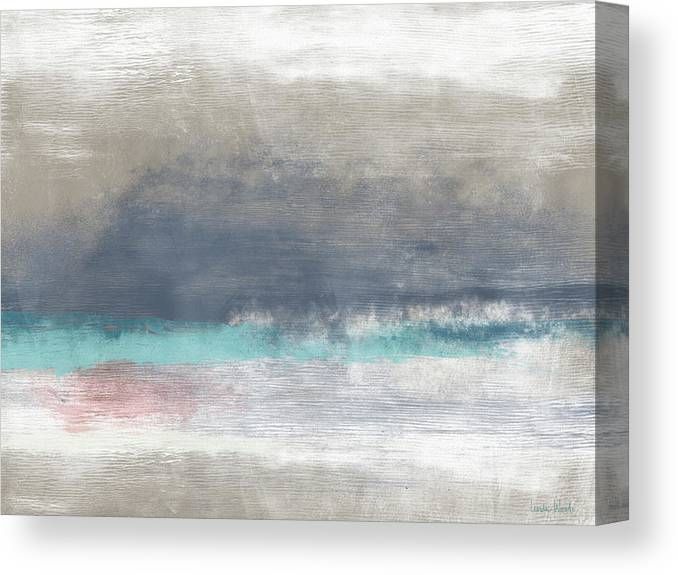 Coastal Canvas Print featuring the mixed media Coastal Escape-abstract Art By Linda Woods by Linda Woods