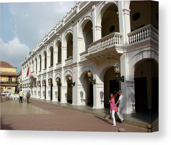 Colombia Canvas Print featuring the photograph Colombia Courtyard by Brett Winn