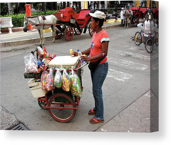 Colombia Canvas Print featuring the photograph Colombia Srteet Cart by Brett Winn