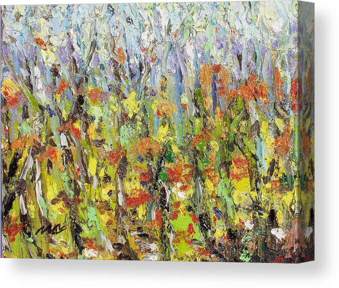Autumn Abstract Paintings Canvas Print featuring the painting Colorful Forest by Seon-Jeong Kim