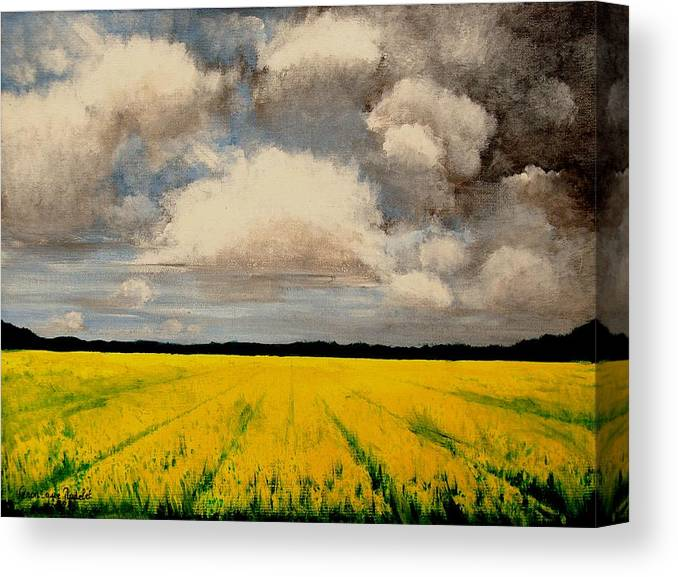 Flowers Canvas Print featuring the painting Colza Field by Veronique Radelet