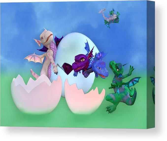 Dragon Canvas Print featuring the digital art Come Out And Play by Betsy Knapp