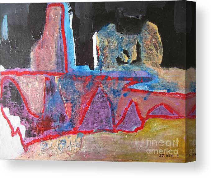 Abstract Paintings Canvas Print featuring the painting Contradiction Of Time by Seon-Jeong Kim
