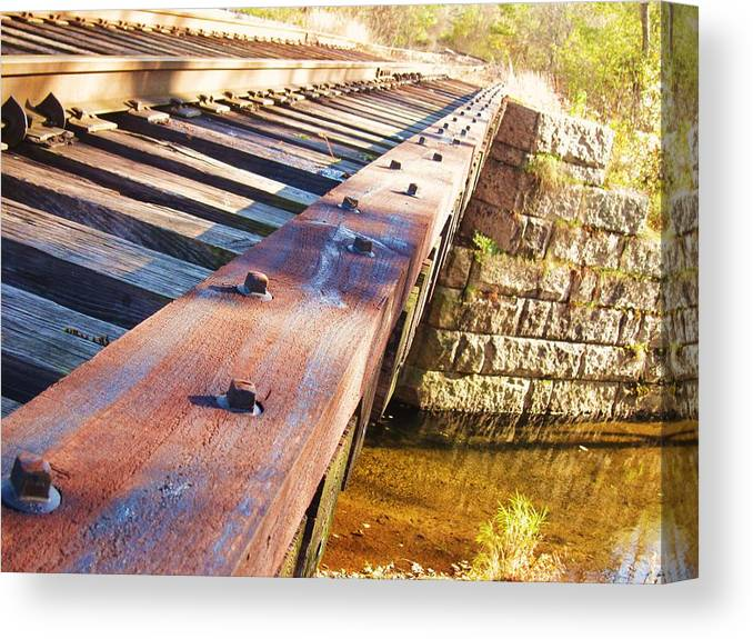 Train Trestle Canvas Print featuring the photograph Country Train Trestle by Joe Martin