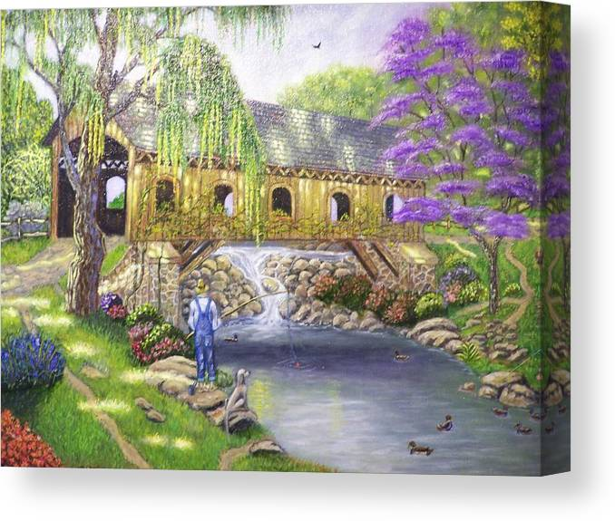 Landscape Canvas Print featuring the painting Covered Bridge by Charles Vaughn