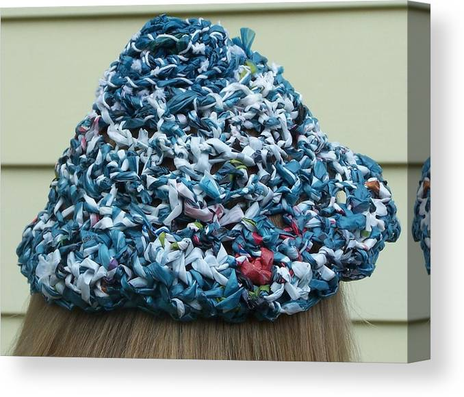Hat Canvas Print featuring the photograph Crocheted Plastic Bags by Lila Mattison