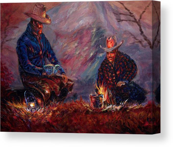Campfire Canvas Print featuring the painting days done II by Tommy Winn