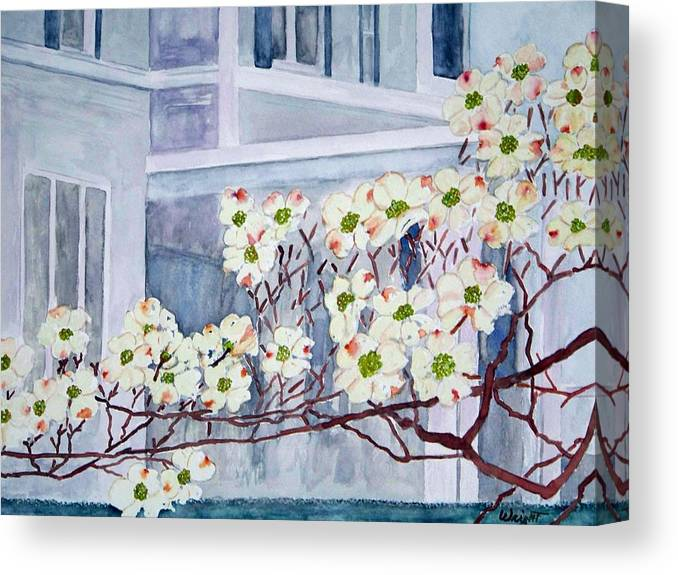Architecture Canvas Print featuring the painting Dogwood Time In Oldtown by Larry Wright