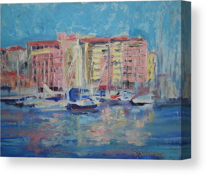 Meditrainean Canvas Print featuring the painting Du Port by Bryan Alexander