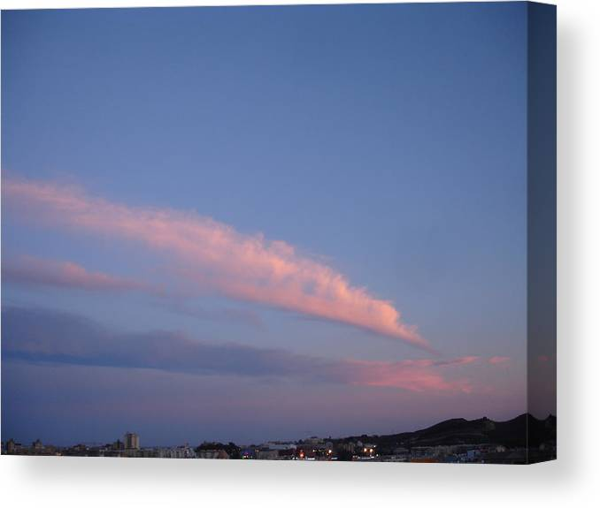 Landscape Canvas Print featuring the painting Dusk by Roger Cummiskey