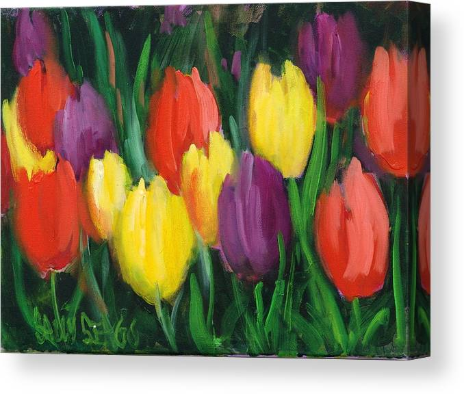 Flowers Canvas Print featuring the painting Dutch Tulips by Sally Seago