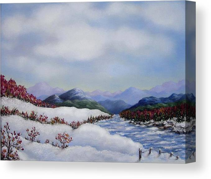Winter Canvas Print featuring the painting Early Snow by Anh T Chau