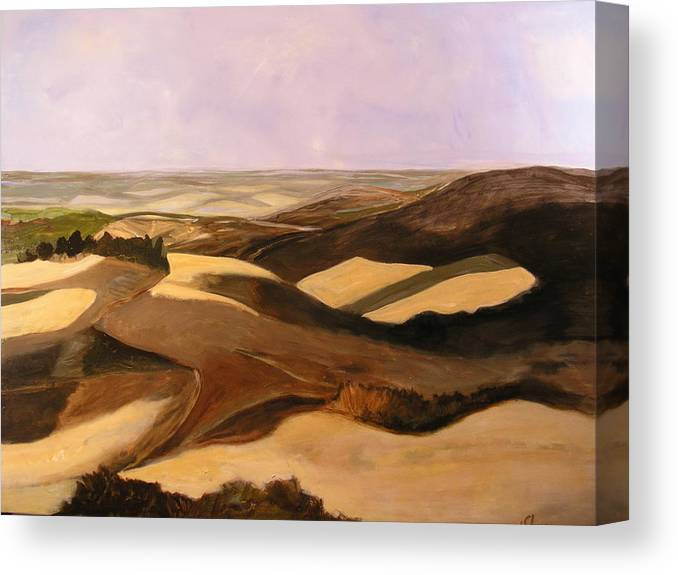 Landscape Canvas Print featuring the painting Earth And Dunes by Lena Shugar