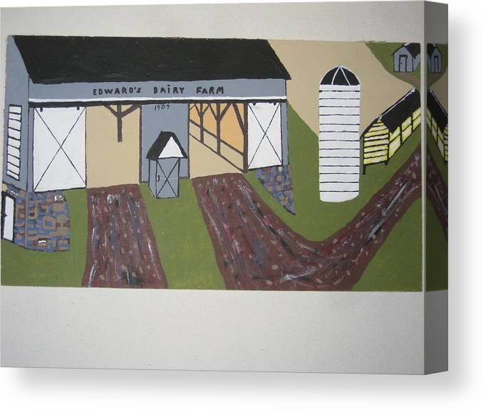 Nature Canvas Print featuring the painting Edwards Dairy Farm by Jeffrey Koss
