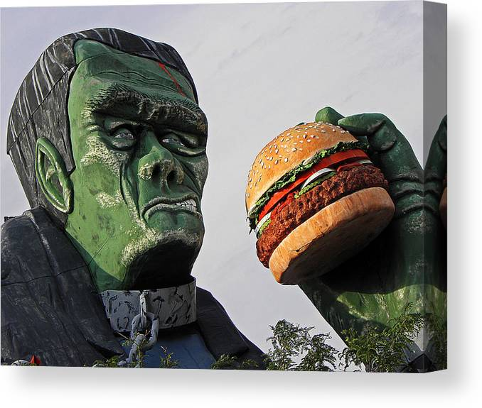 Frankenstein Canvas Print featuring the photograph Even Frankie Loves A Burger by Elizabeth Hoskinson