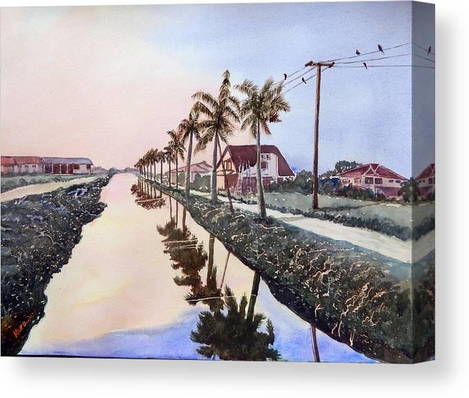Paramaribo Canvas Print featuring the painting Evening Light Paramaribo Suriname by Murugesan A
