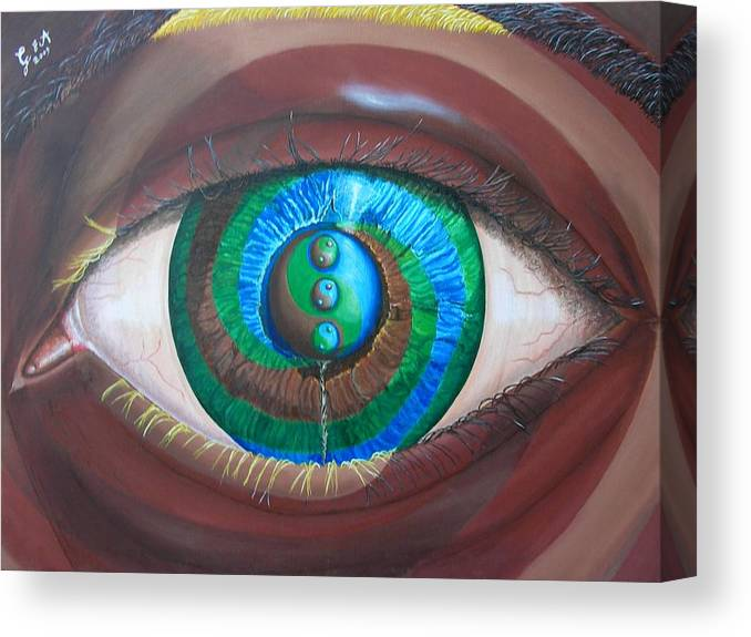Eye Canvas Print featuring the painting Evolution-insideoutfusion by Giampaolo Piemontese