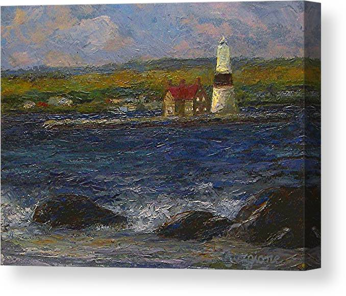 Lighthouse Canvas Print featuring the painting Execution Lighthouse by Tom Forgione