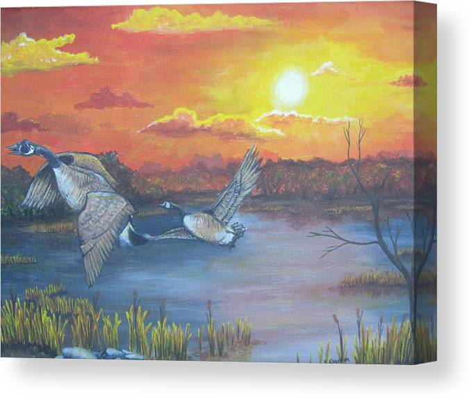 Landscape Wildlife Ducks Sunset Canvas Print featuring the painting Fall And Flight by Sandra Garben