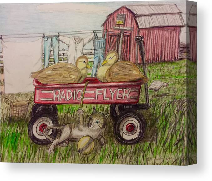 Art Canvas Print featuring the painting Farm Friends Children's Illustration by Larry Lamb