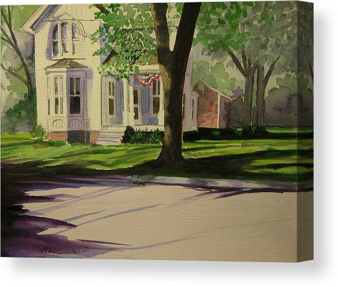 Walt Maes Canvas Print featuring the painting Farm House In The City by Walt Maes