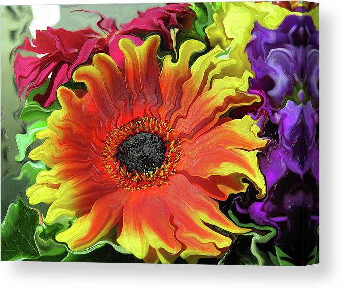 Abstract Canvas Print featuring the photograph Floral Fiesta by Kathy Moll