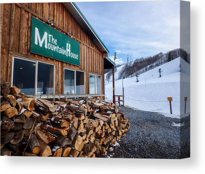 Firewood Canvas Print featuring the photograph Firewood Ready To Burn In Fire Place by Alex Grichenko