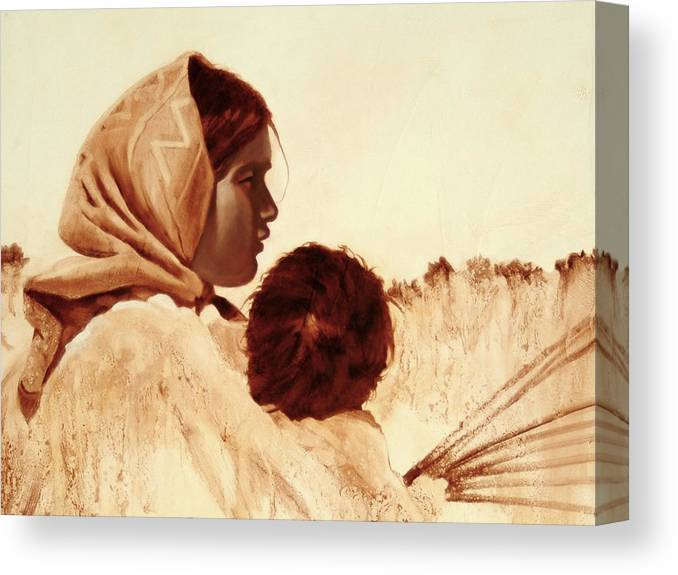 Tarahumara Canvas Print featuring the painting First Easter by Robert Bissett