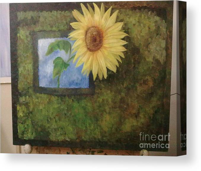 Sunflower Canvas Print featuring the painting Flowerpower by Asha Porayath