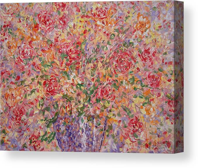 Flowers Canvas Print featuring the painting Flowers In Purple Vase. by Leonard Holland