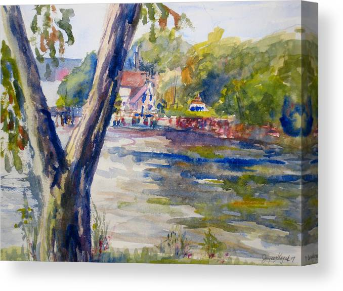 Landscape Canvas Print featuring the painting Forked Tree by Joyce Kanyuk