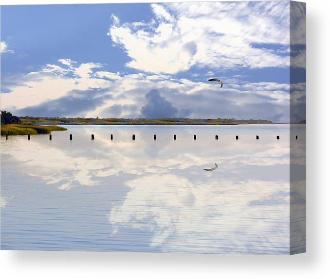 Cape Fear River Canvas Print featuring the photograph Fort Fisher Reflection by Paul Boroznoff