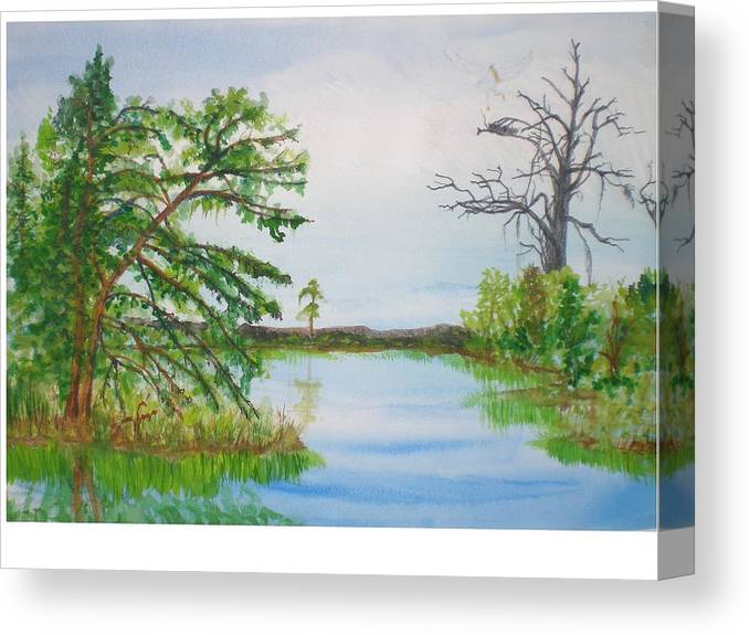 Landscape Canvas Print featuring the painting Fort Mc Coy Lake by Hal Newhouser