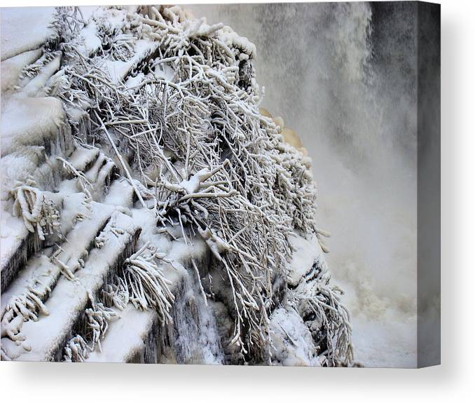 Canvas Print featuring the photograph Freezing Falls by Tingy Wende