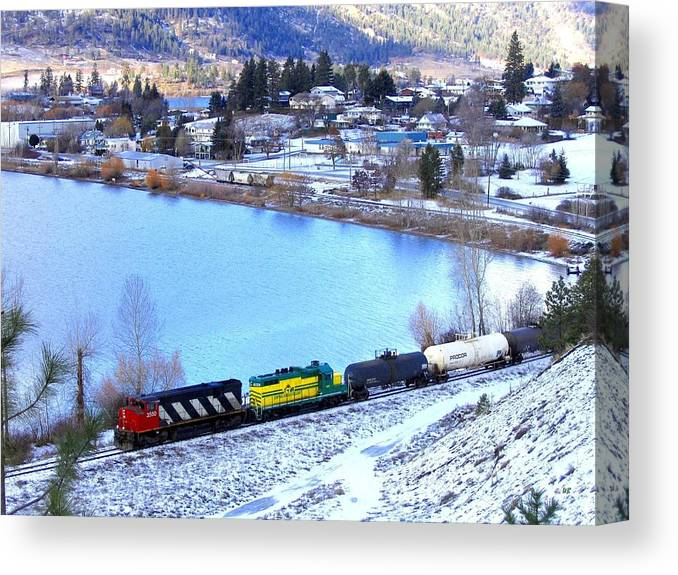 Freight Train Canvas Print featuring the photograph Freight Train At Oyama by Will Borden