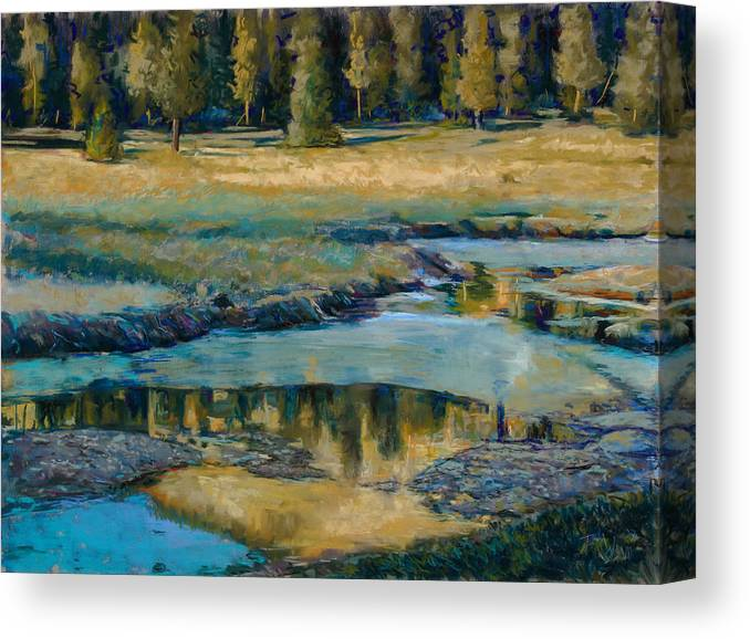 River Canvas Print featuring the painting Frozen Reflections by Billie Colson