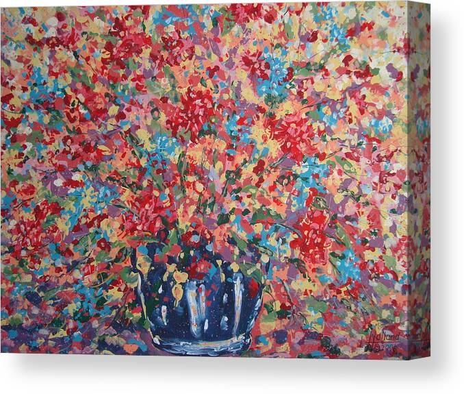 Flowers Canvas Print featuring the painting Full Flower Bouquet. by Leonard Holland