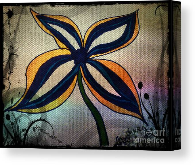 Doodle Canvas Print featuring the drawing Funky Flower by Rachel Maynard
