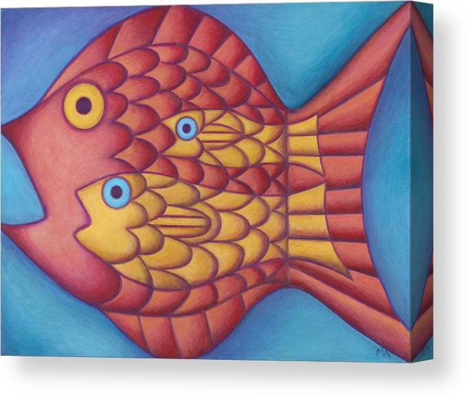 Whimsical Canvas Print featuring the painting Generations by Mary Anne Nagy