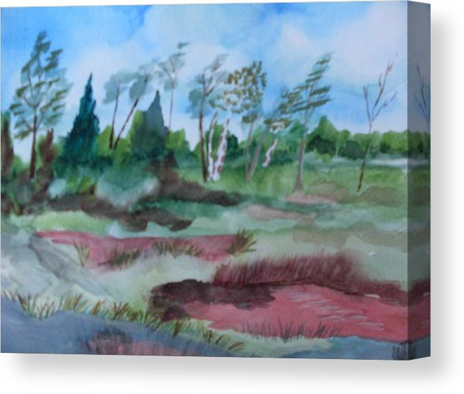 Watercolor Landscape Pond Trees Canvas Print featuring the painting Georgia Pond by Warren Thompson