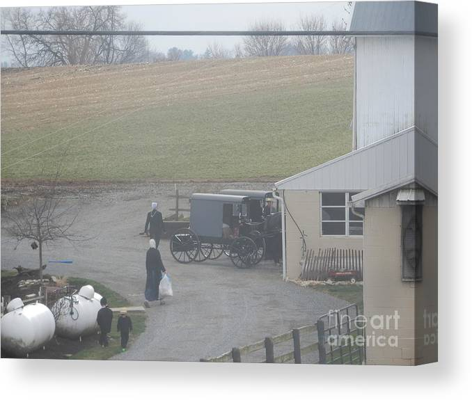 Amish Canvas Print featuring the photograph Getting Ready To Load The Buggy by Christine Clark
