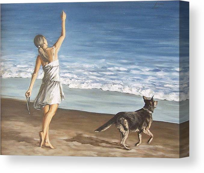 Portrait Girl Beach Dog Seascape Sea Children Figure Figurative Canvas Print featuring the painting Girl And Dog by Natalia Tejera