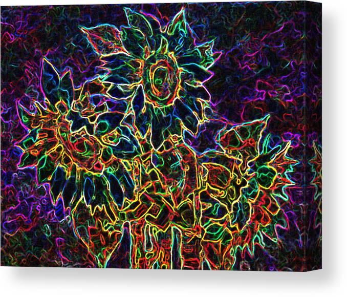 Sunflowers Canvas Print featuring the digital art Glowing Sunflowers by Iliyan Bozhanov