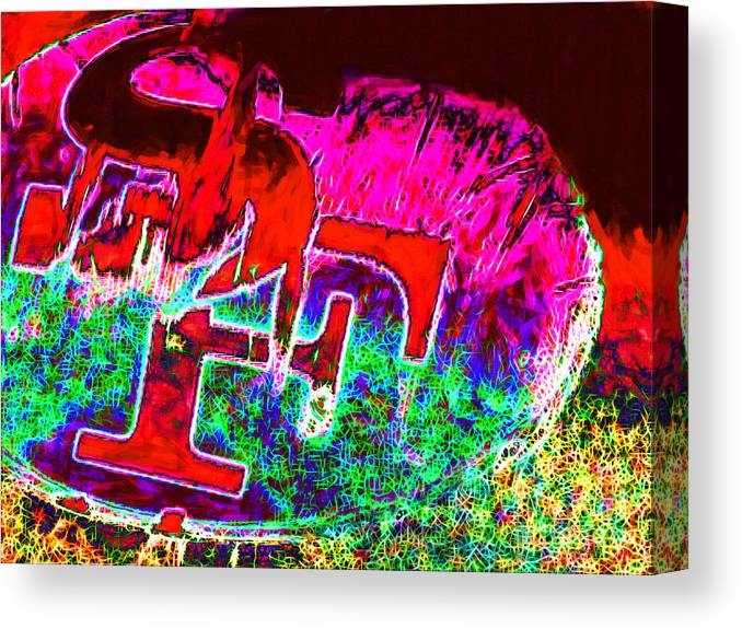 San Francisco Canvas Print featuring the photograph Go Niners 20130115 by Wingsdomain Art and Photography