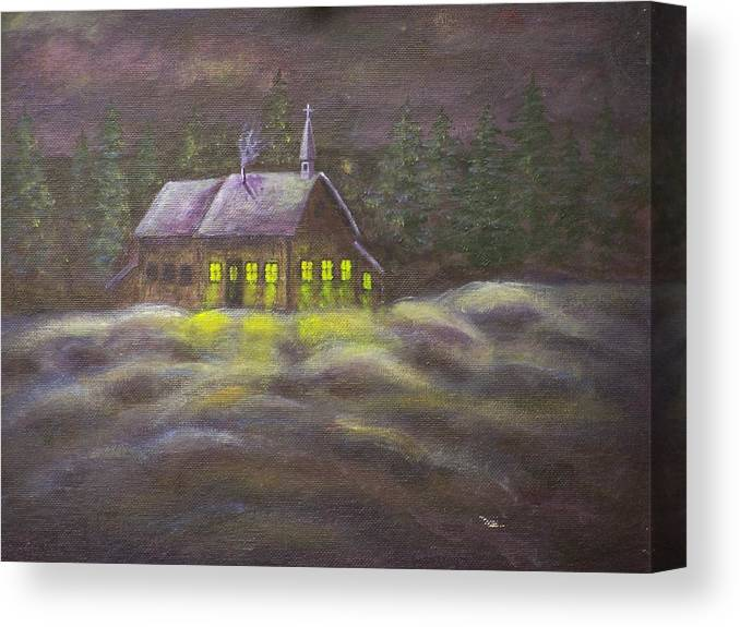 Snowscene Canvas Print featuring the painting God Lives Here by Charles Vaughn
