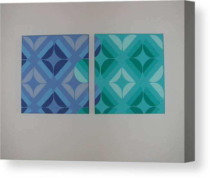 Two Piece Painting Canvas Print featuring the painting Green And Blue With Envy by Gay Dallek