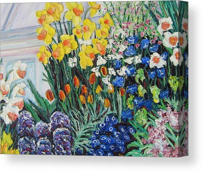 Flowers Canvas Print featuring the painting Green House Flowers by Richard Nowak