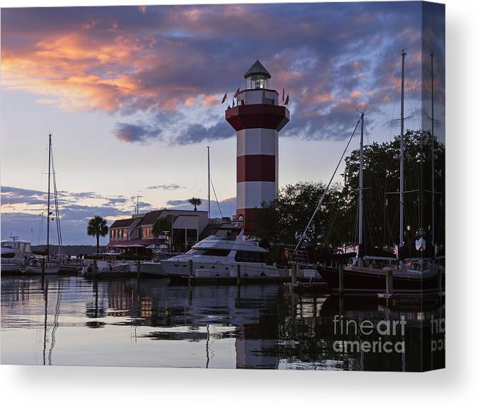 Harbour Town At Sunset Hilton Head Island Canvas Print