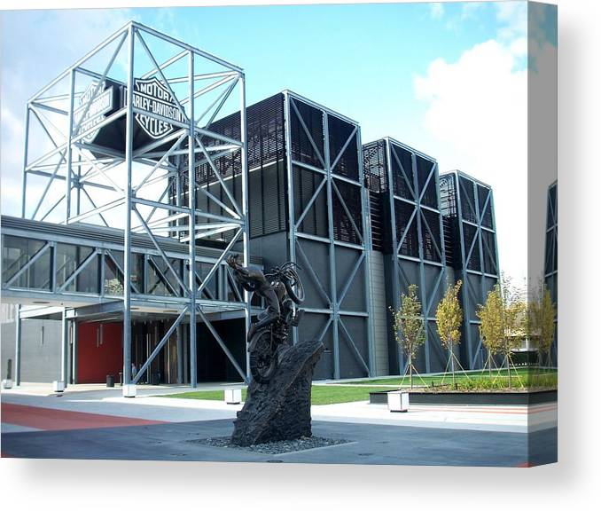 Architechture Canvas Print featuring the photograph Harley Museum And Statue by Anita Burgermeister
